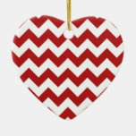Red and White Zigzag Ceramic Heart Decoration