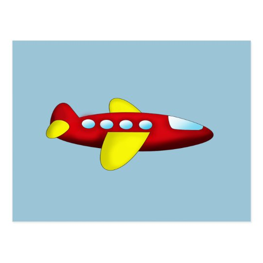 Red and Yellow Aeroplane Postcard
