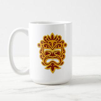 Red and Yellow Aztec Mask Basic White Mug