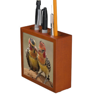 Red and Yellow Barbet eating termites Desk Organiser