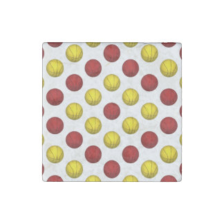 Red and Yellow Basketball Pattern Stone Magnet