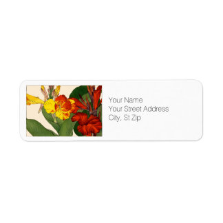 Red and Yellow Canna Flowers Botanical Art Return Address Label