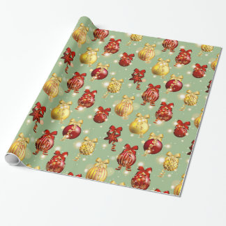 Red and Yellow Christmas Balls with Bows Wrapping Paper