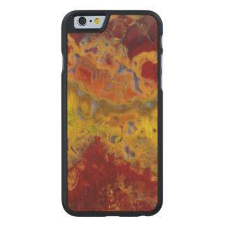 Red and yellow Crayloa Jasper Carved Maple iPhone 6 Case