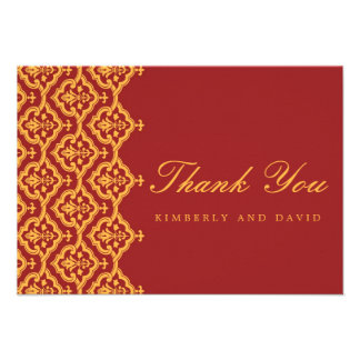 Red and Yellow Damask Wedding Thank You Card