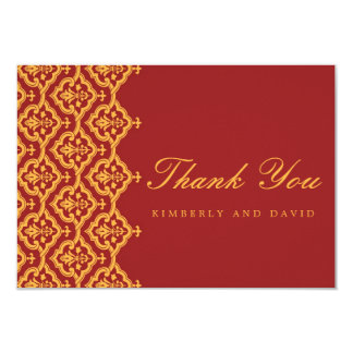 Red and Yellow Damask Wedding Thank You Card 9 Cm X 13 Cm Invitation Card