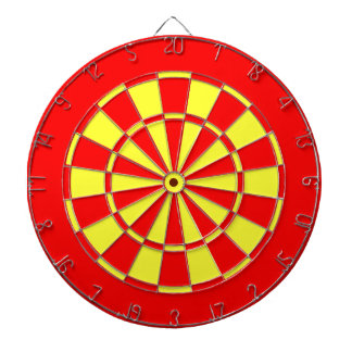 Red and yellow dartboard