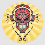 Red and Yellow DJ Sugar Skull with Rays of Light Round Sticker