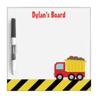 Red and Yellow Dump Truck, For Kids Dry Erase Board