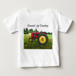 Red and Yellow Farm Tractor Baby T-Shirt