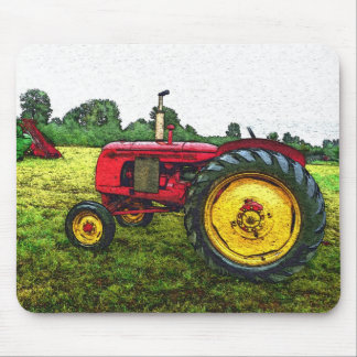 Red and Yellow Farm Tractor Mouse Mat