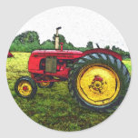 Red and Yellow Farm Tractor Round Stickers