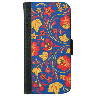 Red and Yellow Floral Ornament iPhone 6 Wallet Case