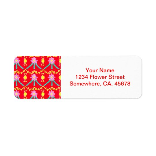 Red and Yellow Floral Tile Pattern
