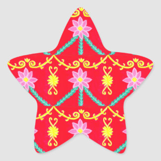 Red and Yellow Floral Tile Pattern Star Sticker