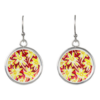 Red and Yellow Floral Watercolor Drop Earrings