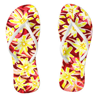 Red and Yellow Floral Watercolor Flip Flops Thongs