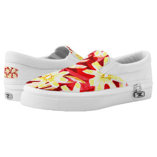 Red and Yellow Floral Watercolor Slip-on Shoes