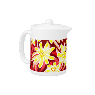 Red and Yellow Floral Watercolor Tea Pot