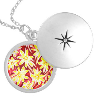 Red and Yellow Floral Watercolour Locket/Pendant Locket Necklace