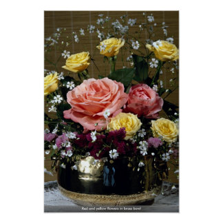 Red and yellow flowers in brass bowl print