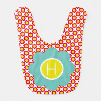 Red and Yellow Flowers With Teal Flower Monogram Bib