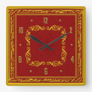 Red and Yellow Gold Elegant Wall Clock