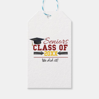 Red and Yellow Graduation Gear Gift Tags