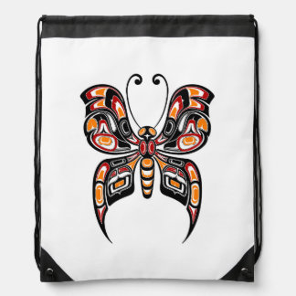 Red and Yellow Haida Spirit Butterfly Drawstring Backpacks