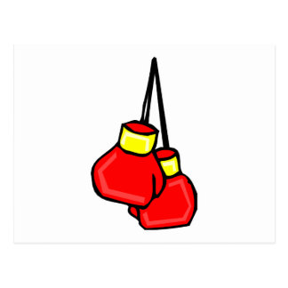 red and yellow hanging boxing gloves post card