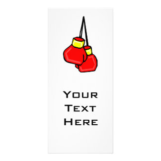 red and yellow hanging boxing gloves rack card design