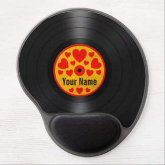 Red and Yellow Hearts Personalized Vinyl Record Gel Mouse Pad