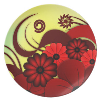 Red and yellow Hibiscus Floral Dinner Plate