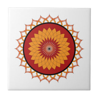 Red and Yellow Lotus Flower Ceramic Tiles