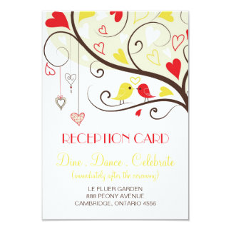Red and Yellow Lovebirds Reception Card Invites
