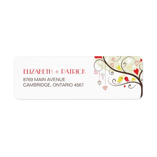 Red and Yellow Lovebirds Wedding Address Label