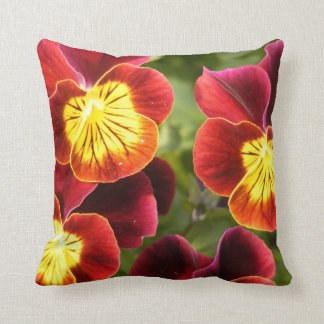 Red and Yellow Pansies (Viola) Cushions