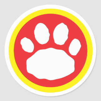 Red and Yellow Paw Print Round Sticker