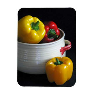 Red and yellow peppers magnet
