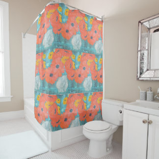 Red And Yellow Poppies Shower Curtain