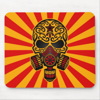 Red and Yellow Post Apocalyptic Sugar Skull Mouse Pad