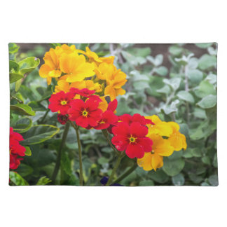Red and yellow primroses placemat