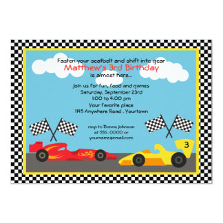 Red and Yellow Race Car Birthday Party 13 Cm X 18 Cm Invitation Card