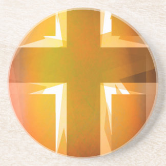 Red and yellow religious cross coaster