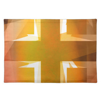 Red and yellow religious cross placemat