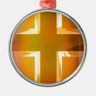 Red and yellow religious cross Silver-Colored round decoration