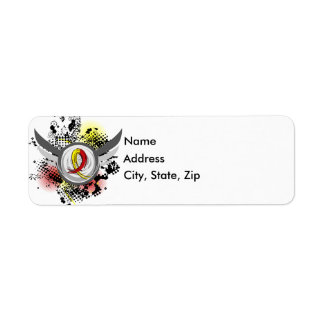 Red And Yellow Ribbon And Wings Hepatitis C Return Address Label