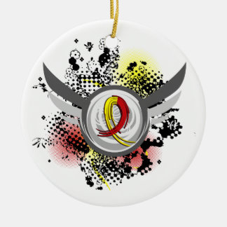 Red And Yellow Ribbon And Wings Hepatitis C Round Ceramic Decoration