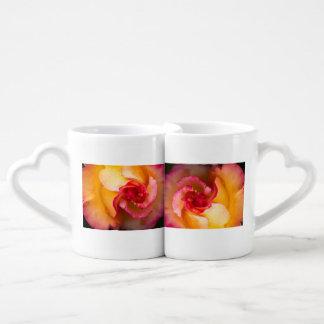 Red and yellow rose flower coffee mug set