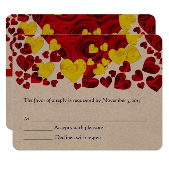 Red and Yellow Rose Hearts RSVP Card